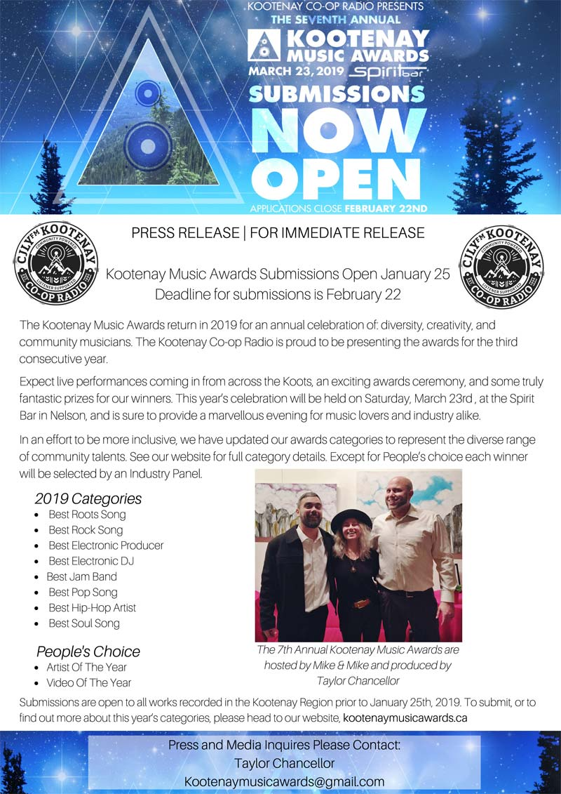 7th Annual Kootenay Music Awards: Submission Dates and